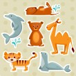 Cartoon animal stickers - Stock Vector