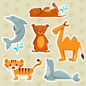 Cartoon animal stickers — Stock Vector