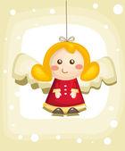 Christmas card with cartoon angel — Stock Vector