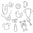 Hand drawn baby icons — Stock Vector