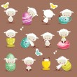 Cute easter character set - Stock Vector