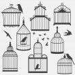 Bird cages silhouette — Stock vektor