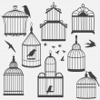 Stock Vector: Bird cages silhouette