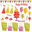 Birthday party graphic elements — Stock Vector