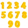 Cheese  decorative numbers — Stock Vector