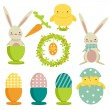 Collection of easter theme icons — Stock Vector