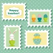 Easter postal stamps set — Stock Vector