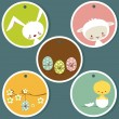 Cute easter tags — Stock Vector