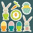 Collection of easter theme stickers — Stock Vector