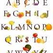 Fruits and vegetables alphabet — Stock Vector