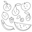 Hand drawn fruits isolated  — 图库矢量图片