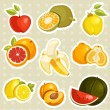 Cartoon fruits stickers — Stock Vector