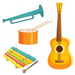 Cartoon musical instruments - Stock Vector