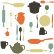 Colorful kitchen pattern - Stok Vektör