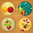 Cute Christmas badges — Stock Vector