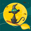 Cat on a broom — Stock Vector