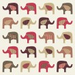 Colorful cute elephants background — Stock Vector