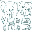 Stock Vector: Birthday party doodles