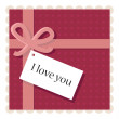 Valentine's day card with a paper note — Stock Vector