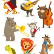 Stock Vector: animals playing intruments