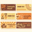 Set of colorful retro cards - Stock Vector