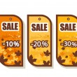 Set of 3 autumn sale tags — Stok Vektör