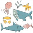 Doodle sea animals — Stock Vector