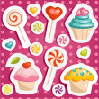 Cute candy stickers — Stock Vector