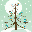 Royalty-Free Stock Vektorov obrzek: Birds on winter tree