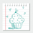 Hand drawn cupcake — Stock Vector