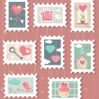 Set of valentines day postage stamps — 图库矢量图片