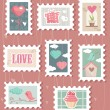 Set of valentines day postage stamps — Stockvectorbeeld