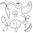 Cute doodle vegetables — Stock Vector