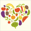 Fruits and vegetables heart shape — Stock Vector