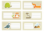 Back to school stickers with cute animals, vector illustration — Stock Vector