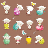 Cute easter character set — Stock Vector