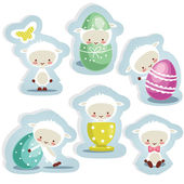 Cute easter stickers isolated — Stock Vector