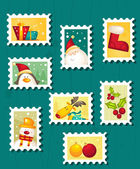 Set of Christmas Postage stamps — Stock Vector