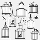 Bird cages silhouette — Stock Vector