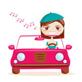 Retro girl driving — Stock Vector