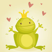 Cute cartoon frog prince — Vector de stock
