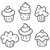 Hand drawn cupcake set — Stock Vector