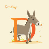 Animal alphabet with donkey — Vector de stock