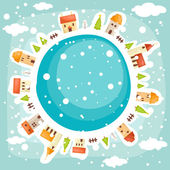 Winter earth background — Stock Vector