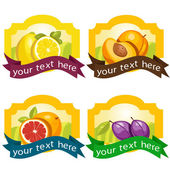 Set of fruit labels — Stock Vector