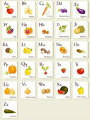 Fruits and vegetables alphabet cards — Stock Vector