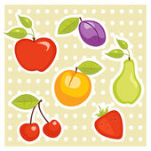 Fruit stickers — Stock Vector