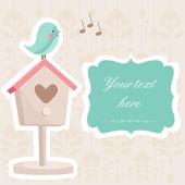 Cute card with a bird, vector illustration — Stock Vector
