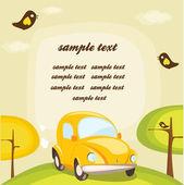 Tecknade bil bakgrund med plats för din text — Stockvektor