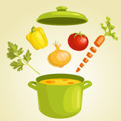 Vegetable soup with ingredients isolated — Stock Vector